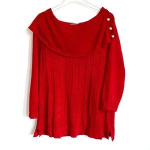 Studio Works Red Pullover Sweater shawl collar